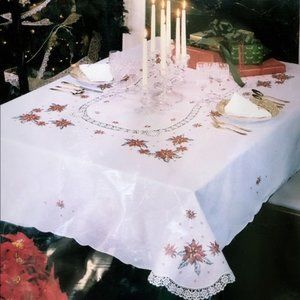 Vintage Holiday Poinsettia Tablecloth